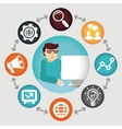 Social media concept - project manager vector