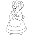 Outlined mrs claus vector