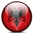Map on flag button of republic of albania vector