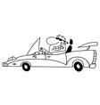 Cartoon man driving car vector