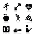 Health and fitness black clean icons set vector