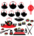 Set of asian food icons - teapot sushi vector