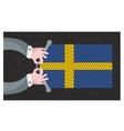 Hand made flag of sweden vector