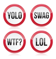 Yolo swag wtf lol signs vector