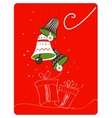 Christmas retro greeting card with decoration and vector