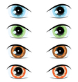 Cartoon eyes of different colors set for the desig vector