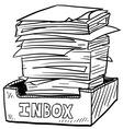 Doodle paper stack inbox vector