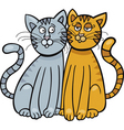 Cartoon illustration of two cats in love vector
