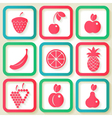 Set of 9 retro icons with fruits vector