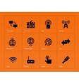 Networking icons on orange background vector