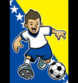 Bosnia and herzegovina soccer player with flag vector