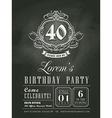Anniversary birthday card chalkboard background vector