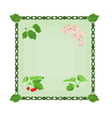 Button cherries with leaves and flowers vector