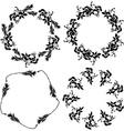 Round floral frame set black leaves on white vector