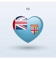 Love fiji symbol heart flag icon vector