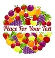 Fresh fruit in a circular design with copyspace vector