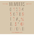 Hand drawn numbers with most common keystrokes vector