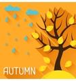 Seasonal with autumn tree in flat vector