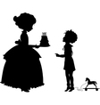 Girl and boy with holyday cake vector