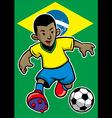 Brazil soccer player with brazil flag background vector