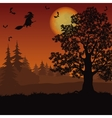 Halloween landscape with witch and trees vector