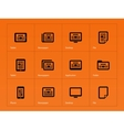 Newspaper icons on orange background vector