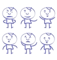 Funny men set sketch cartoon vector