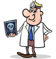 Cartoon doctor with xray vector