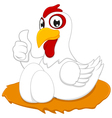 White chicken with thumb up vector