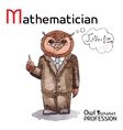 Alphabet professions owl letter m - mathematician vector