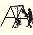Children on swings silhouettes vector