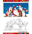 Cartoon santa claus group for coloring vector