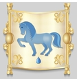 Image of a blue horse on the eastern calendar vector