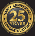 25 years happy anniversary congratulations gold vector