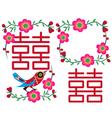 Double happiness bird design vector
