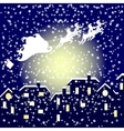Santa in his sleigh flying over the city vector