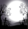 Halloween background destroyed cemetery and owl vector