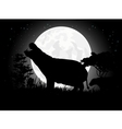 Hippo silhouette with giant moon background vector