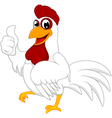 Happy white chicken with thumb up vector