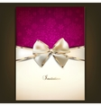 Greeting card with white bow and copy space vector