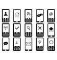 Phones with signs on screen vector