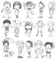 Kids in doodle design vector