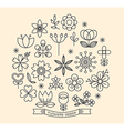 Flower icons with outline style design elements vector