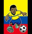 Ecuador soccer player with flag background vector