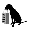 Dog shopping fish vector
