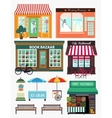 Shops and vitrine elements seamless pattern with vector