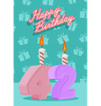 Happy birthday age 42 announcement and celebration vector