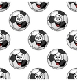 Laughing cartoon soccer ball seamless pattern vector