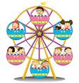 Happy children riding the ferris wheel vector