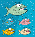 Fish in blue bubble water vector